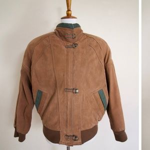 80's Brown Leather Aviator Jacket, Snap Buttons